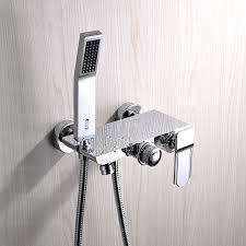 image of contemporary bathtub faucet with hand shower