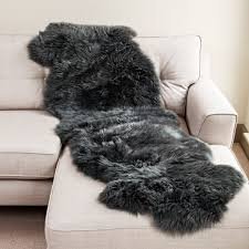new zealand large grey sheepskin rug 60cm x 180cm