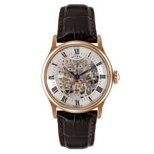 mens rotary watches beaverbrooks the jewellers rotary mechanique skeleton rose gold plated mechanical men s watch
