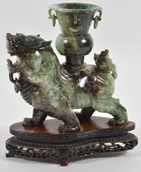 carved chinese jade foo dog with wood base