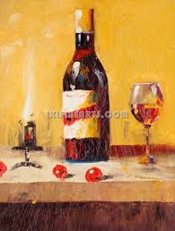 title wine bottle and fruits oil painting by knife item no stlf 304 quality