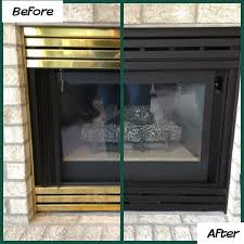 brass fireplace inserts spray on an updated finish using a high heat enamel paint take out brass pieces lightly sand apply paint and let dry