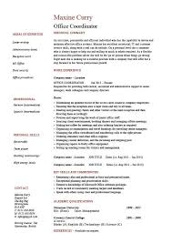 Office Coordinator Resume Example Sample Administration Areas Of Mesmerizing Administrative Coordinator Resume