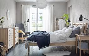 ikea bedroom furniture images. Beige And Grey Bedroom With BJRKSNS Bed Bedside Table Chest Of Drawers Throughout Ikea Furniture Images