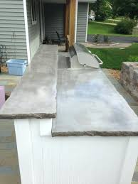 outdoor concrete countertops outdoor kitchen with upper lower concrete natural grey concrete with broken rock edge