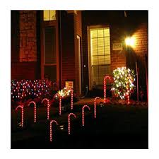 Light Up Garden Candy Canes Amazon Com Set Of 10 Christmas Candy Cane Pathway Markers