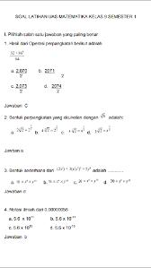 Silakan unduh soal matematika kelas 9 semester 1 kurikulum 2013 beserta jawabannya melalui tautan dibawah ini Contoh Soal Matematika Kelas 9 Semester 1 Beserta Jawabannya