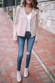 hinge feminine leather moto jacket in beige morn still available b p ribbed v neck tee