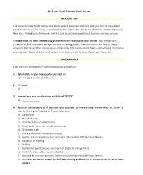 Company Questionnaire Template Demographic Survey Small Business