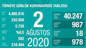 Son dakika haberi: 2 Ağustos korona tablosu ve vaka sayısı Sağlık Bakanı  Fahrettin Koca tarafından açıklandı! - Son Dakika Haberleri