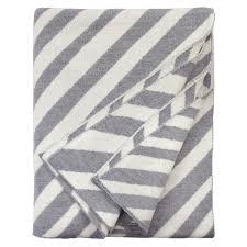 merino wool grey and cream reversible striped blanket throw