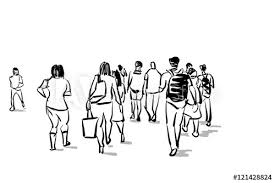 Group Of People Walking Free Hand Sketch Buy This Stock