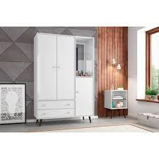 White Mid Century- Modern Armoire with Mirror, 4 Shelves,