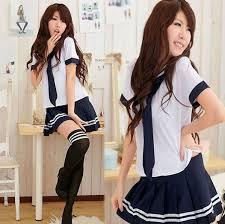 Japanese School Girl Uniform Sailor Suit Anime Cosplay Costume.