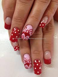 Pink, red and white Minnie Mouse nail art | Wacky Nails ...