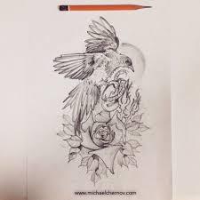 оригинальный универсальный эскиз тату птицы 410
