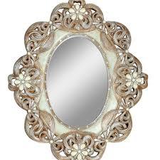 large round mirror wooden frame