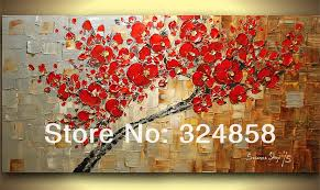 huge cherry blossom artwork wall painting landscape oil painting on canvas palette knife modern painting home decor wall art