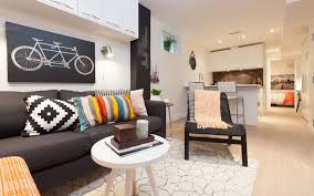 long narrow living room and kitchen