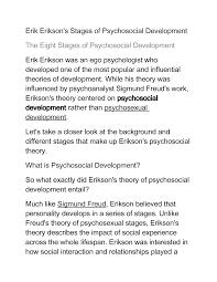 Erik Erikson Lecture Notes Education Psychology Mdde 619