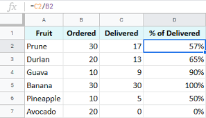 percene in google sheets tutorial