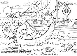 Sea Monster Free Coloring Page