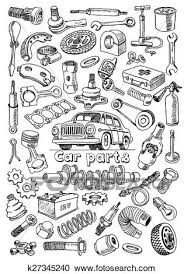 auto parts clip art. Delighful Art Clipart  Car Parts In Freehand Drawing Style Fotosearch Search Clip Art  Illustration To Auto Parts Art O