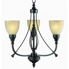 commercial electric 3 light bronze chandelier with tea stained glass shades