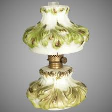 miniature victorian oil lamp with painted milk glass
