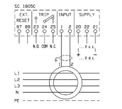 compact earth leakage relays x48ds 48x48 dacpol connection diagram kompaktowy przekaźnik prądu upływu x48ds schemat