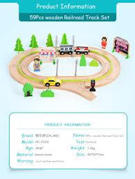 Zalami 59 <b>Pcs</b> Electric <b>Wooden</b> Train Set High Quality <b>Wooden</b> ...