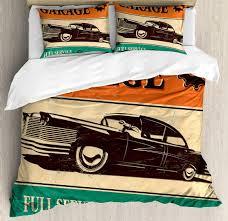 vintage duvet cover set garage retro poster with classic car automobile mechanic nostalgic bedding sets queen size comforter sets cowboy bedding from