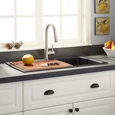 Sink With Cutting Board 35 Lorman Drop In Granite Composite Sink Black Kitchen