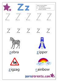 preschool letter worksheet z