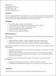 Resume Templates: College Admissions Representative