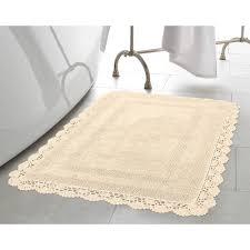 laura ashley crochet 100 cotton 21 in x 34 in bath rug in