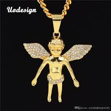 whole hiphop gold angel crystal necklaces for best friends hip hop long chain men necklace neckless female diy jewelry diamond pendant love necklace