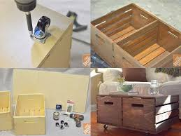 diy wooden crates storage ottoman