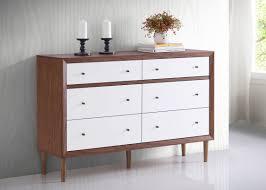 White And Walnut Bedroom Furniture Baxton Studio Harlow Mid Century White And Walnut Veneer 6 Drawer