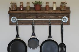 Rustic Kitchen Shelving Rustic Industrial Kitchen Pot Rack Gifts For Him Wall Shelf