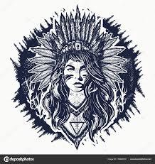 Indiánka Tetování A Tričko Design Indiánské ženy Stock Vektor