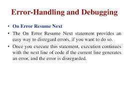 on error resume next error handling and on error resume on error resume next  aspnet c .