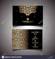 Visiting Card Design Black And Gold Elegant Business Card With A Gold And Black Design Stock