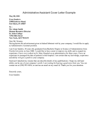 Administrative Assistant Cover Letter Example Cover Letter Database