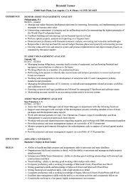 Asset Management Analyst Resume Samples Velvet Jobs