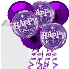 Purple Happy Birthday Bouquet Buy Helium Balloons Delivery