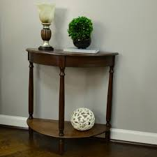 console table decor. Decor Therapy Simplicity Walnut Half Round Console Table-FR1478 - The Home Depot Table