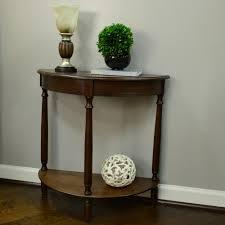 decor therapy simplicity walnut half round console table