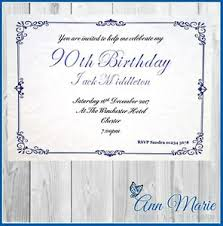 90 Birthday Party Invitations Details About 10 X 90th Personalised Birthday Party Invitations Birthday Invites Envelopes
