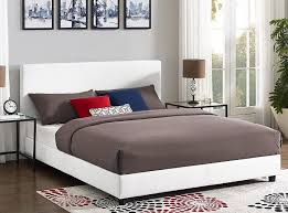 details about white faux leather upholstered queen platform bed with padded headboard new